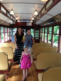 Three lovely ladies on the Lake Harriet Trolley, MN