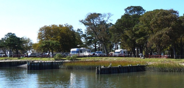 This is the campground next to the pony penning swim-across zone. We have a waterfront view.