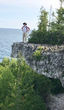 Jill on an eroded ledge