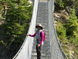 Jill braves the suspension bridge